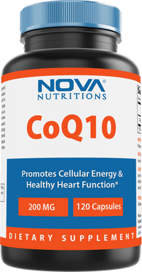 Nova Nutritions CoQ10 Coenzyme q10 200mg 120 Capsules - COQ10 Promotes Healthy Cardiovascular Function