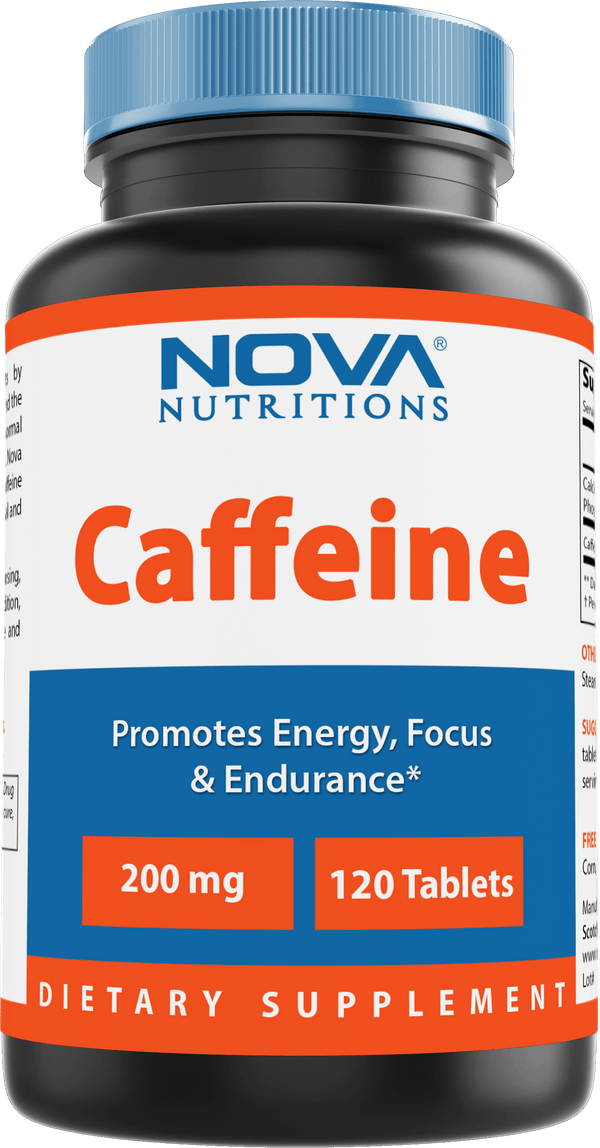 Nova Nutritions Caffeine 200 mg 120 Tablets - uncoated tablet