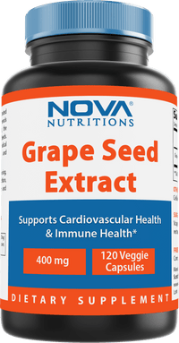 Nova Nutritions Grape Seed Extract Capsules 400 mg - Minimum 95% Proanthocyanidins, Vegan, Non-GMO and All Natural - 120 Count