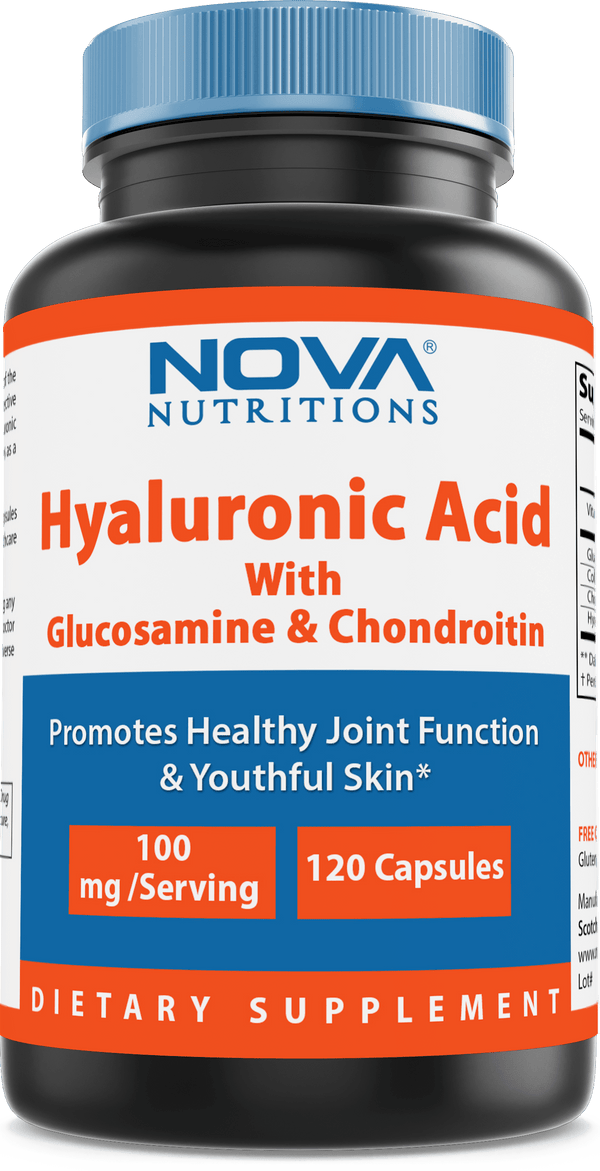 Nova Nutritions Hyaluronic Acid 100mg/serving - Promotes Youthful Skin & Healthy Joint Function 120 Capsules