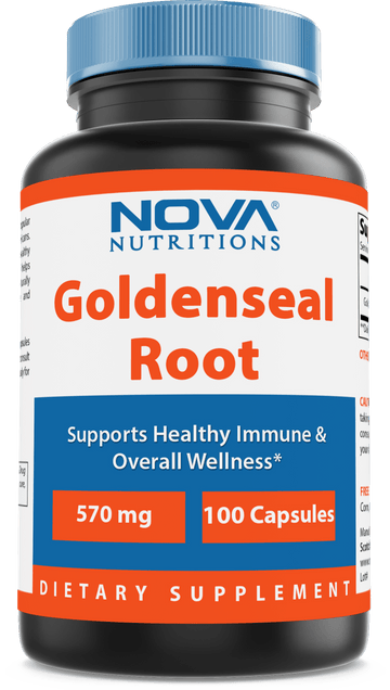 Nova Nutritions Goldenseal Root 570mg (Non-GMO) Capsules, Promotes Healthy Immune & Overall Wellness, 100 Count