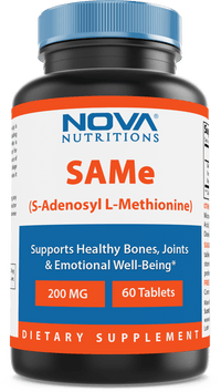 Nova Nutritions Same (S-Adenosylmethionine) 200mg - Promotes Positive Mood and Joint Comfort - (Genuine Same Supplement has Typical Smell of Naturally Occurring Sulfur in it), 60 Tablets