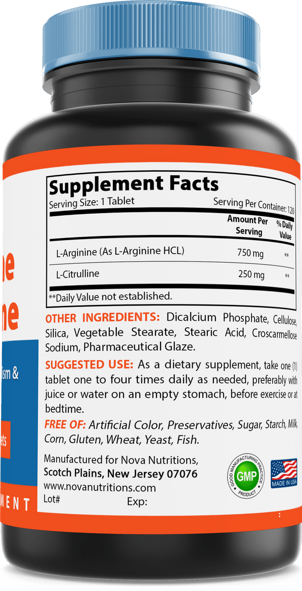 Nova Nutritions L-Arginine L-Citrulline 1000mg - Promotes Muscle Relaxation - 120 Tablets