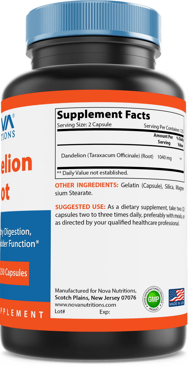 Nova Nutritions Dandelion Root Capsules 520mg, Supports Healthy Digestion, Live & Gallbladder Function, 250 Count