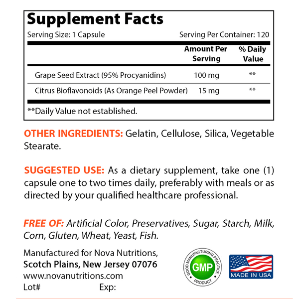 Nova Nutritions Grape Seed Extract 100 mg (Non-GMO) 120 Capsules - 95% Proanthocyanidins