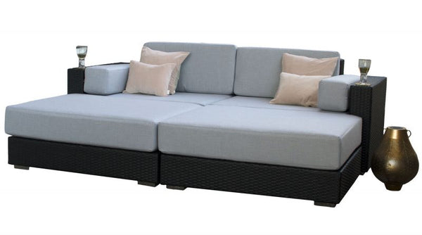 Black Rattan Outdoor Daybed: Siena