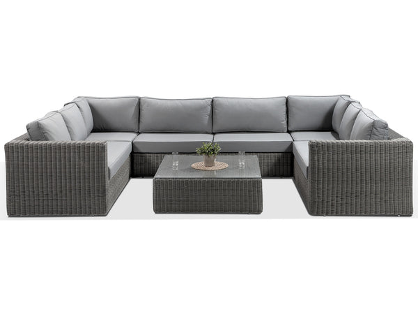 Tosca Grey Large U Shaped Rattan Sofa with Grey Cushions - Alexander Francis