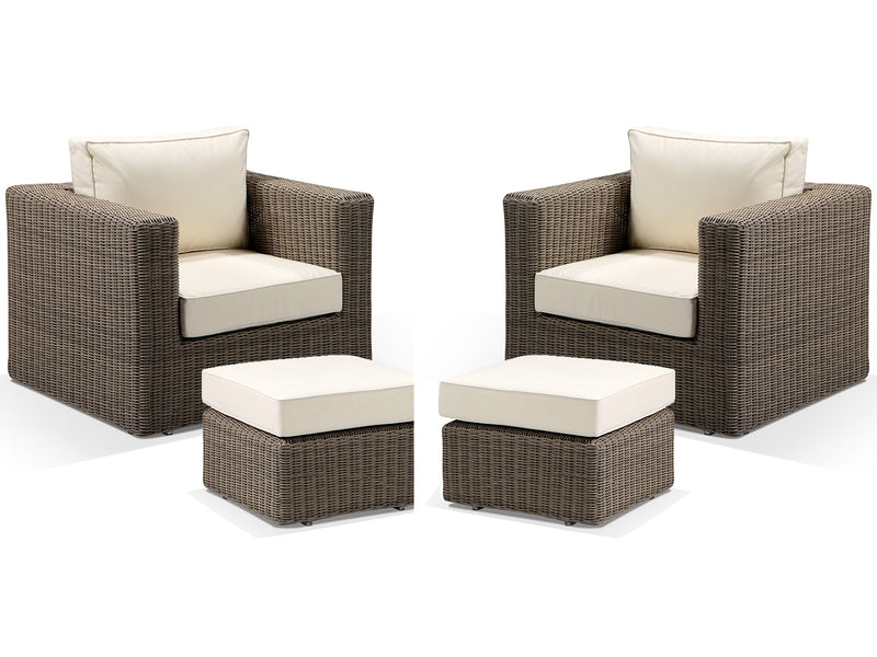 Tosca Natural Brown Rattan Bistro Set Cream Cushions - Alexander Francis