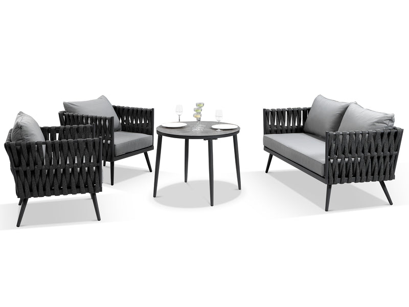Lusso Grey Rope Weave Outdoor Dining Set - Alexander Francis