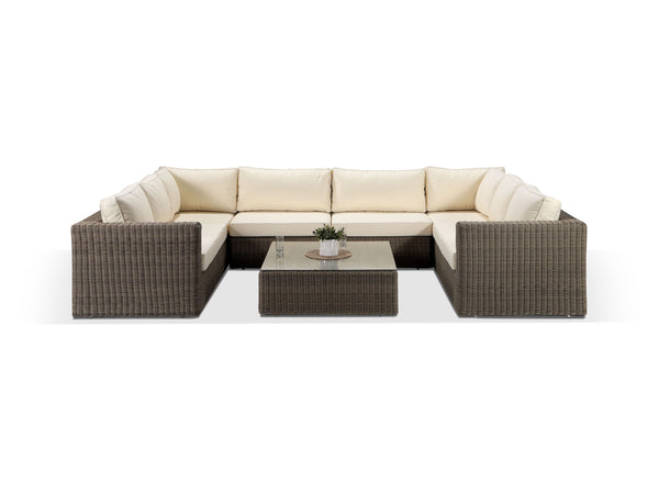 Tosca Natural Large U Shaped Rattan Sofa with Cream Cushions - Alexander Francis