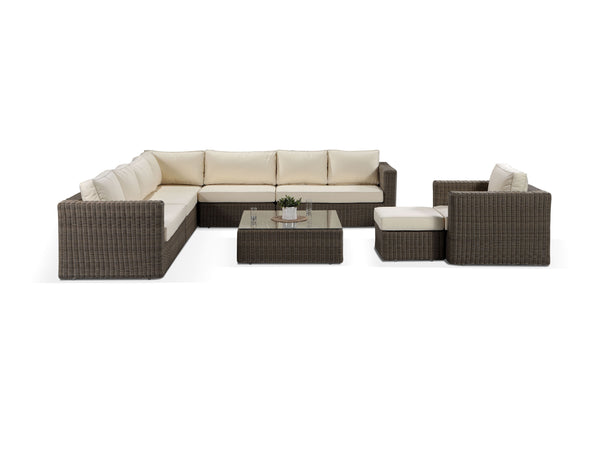 Tosca Natural Large Brown Rattan Modular Corner Sofa and Armchair Set - Alexander Francis