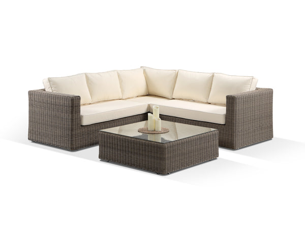 Tosca Natural Modular Corner Sofa Set with Cream Cushions - Alexander Francis