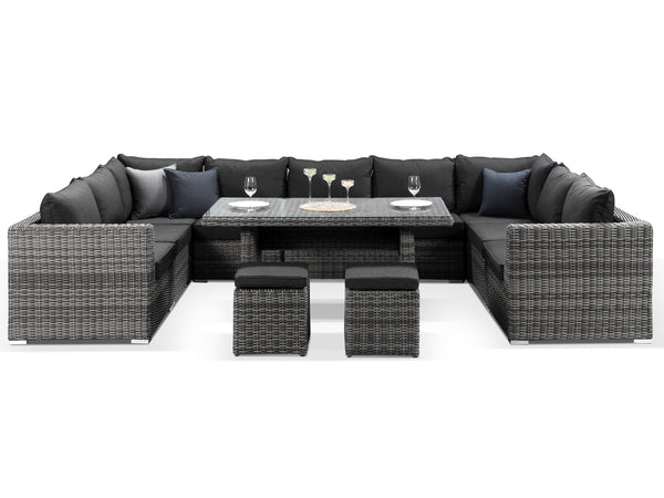 Verona Large Grey Rattan Outdoor Sofa Dining Set - Alexander Francis