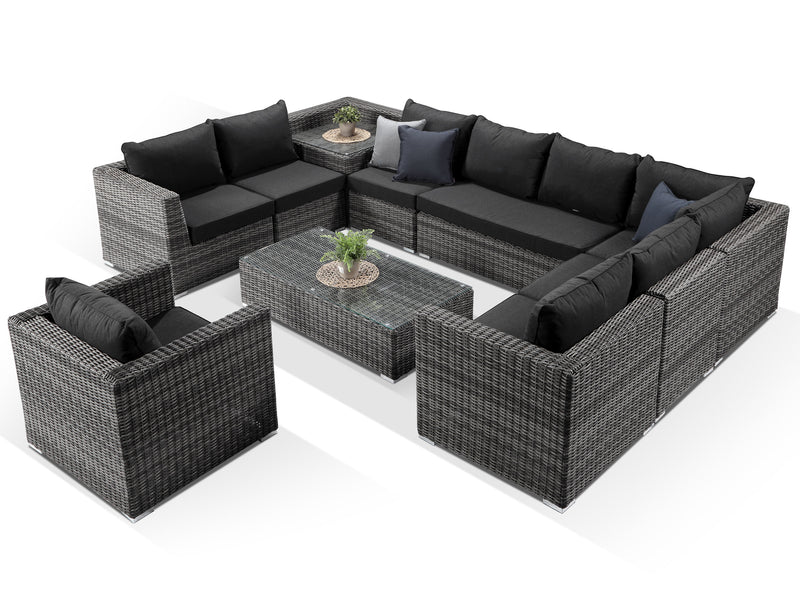 Verona Grey Rattan U Shaped Sofa Set - Alexander Francis