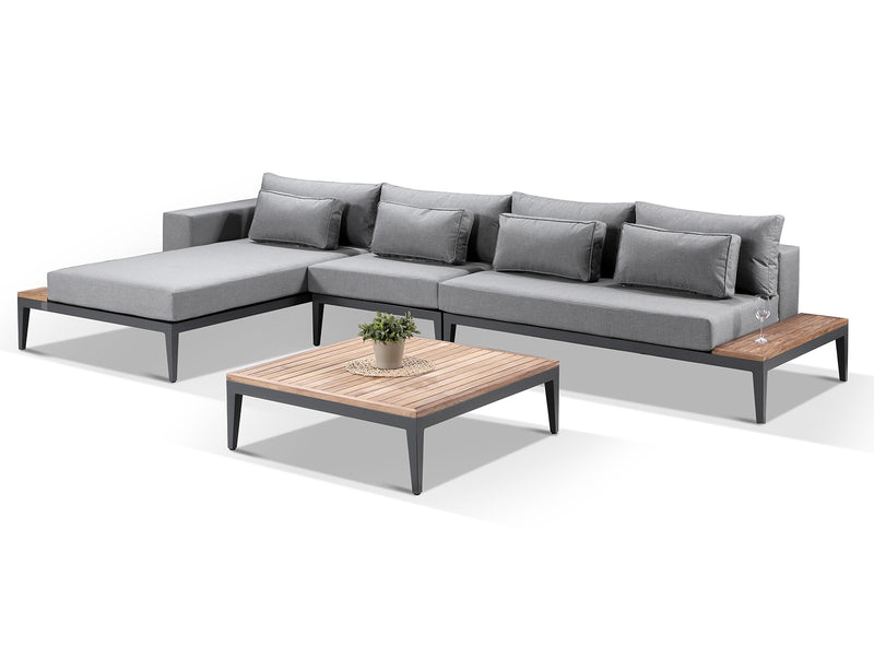 Moderno Sunbrella Grey Fabric Outdoor L Sofa Set - Alexander Francis
