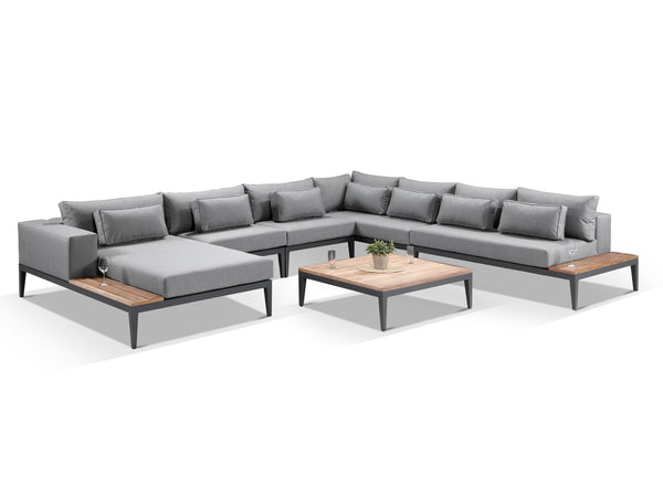 Moderno Sunbrella Grey Fabric Outdoor Corner Sofa Set - Alexander Francis