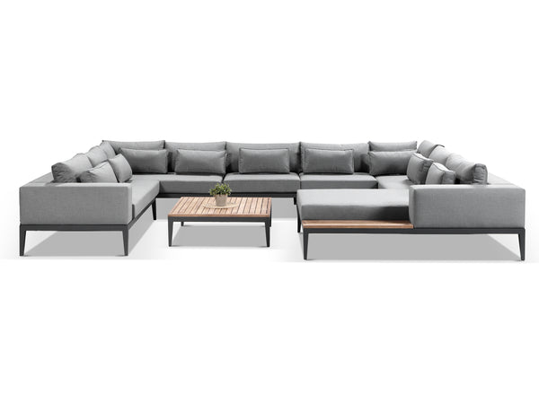 Moderno Sunbrella Grey Fabric Outdoor U Sofa Set - Alexander Francis