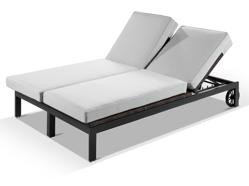 Milano Sunbrella White Fabric Outdoor Sun Lounger Set - Alexander Francis