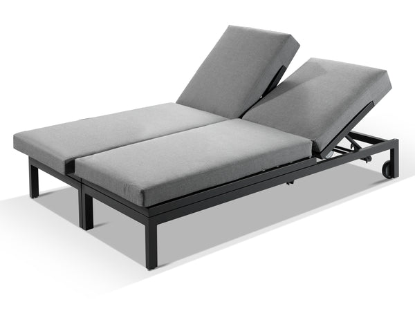Moderno Sunbrella Grey Fabric Outdoor Sun Lounger Set - Alexander Francis