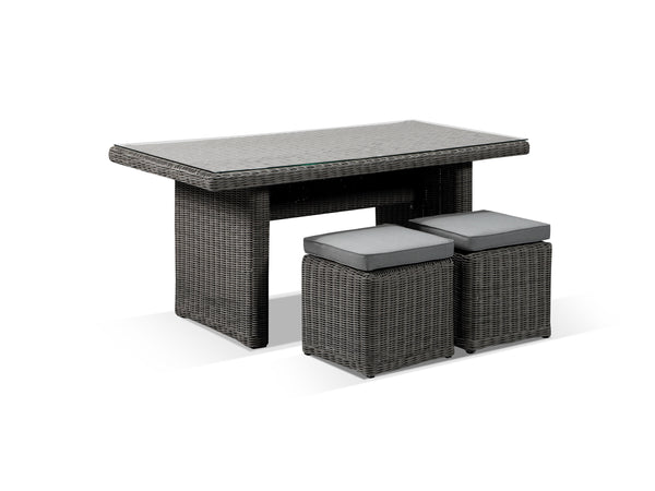 Tosca Grey Rattan Dining Table and Stool Set