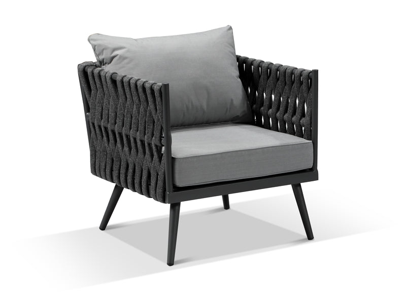 Lusso Charcoal Grey Rope Weave Outdoor 4 Armchair Dining Set - Alexander Francis