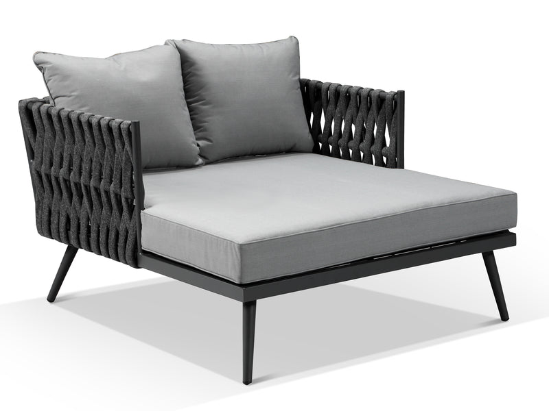 Lusso Charcoal Grey Rope Weave Outdoor Lounge Daybed - Alexander Francis