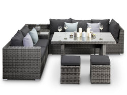 Verona Grey Rattan Corner Sofa With Dining Table - Alexander Francis