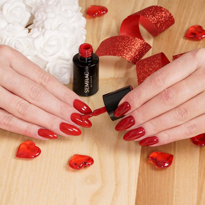 Semilac 347 Pretty Red Glitter UV Gel Polish 7 ml - Semilac Shop