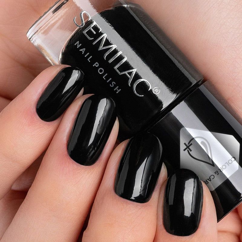 Semilac Nail Polish Colour & Care C197 Black - Semilac Shop