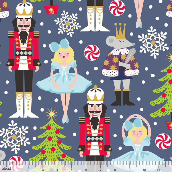 Snowflake Waltz- Nutcracker (Navy) | Broadcloth