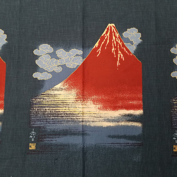 Noren Panel - Red Fuji Mountains (Navy) | Broadcloth