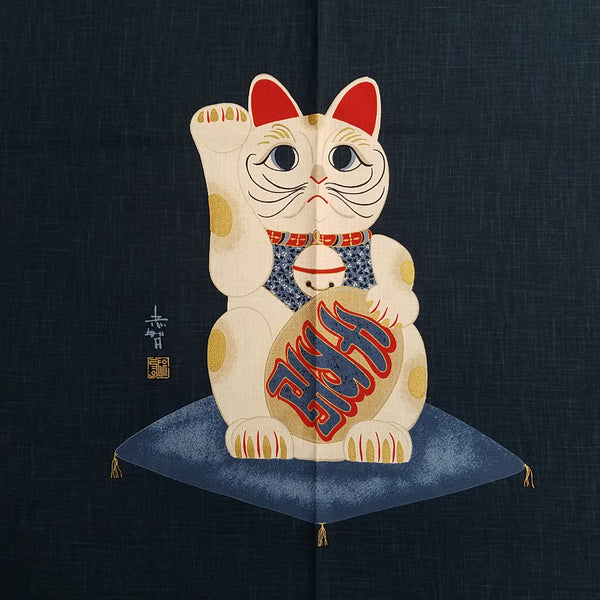 Noren Panel - Maneki Neko (Navy) | Broadcloth