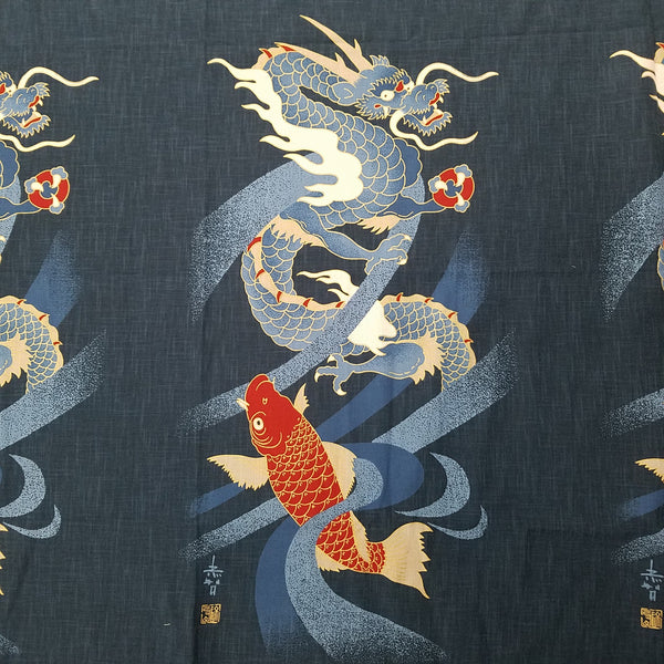 Noren Panel - Dragon and Carp (Navy) | Broadcloth