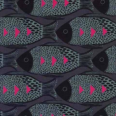 Magic Forest- Fish (Charcoal) | Broadcloth