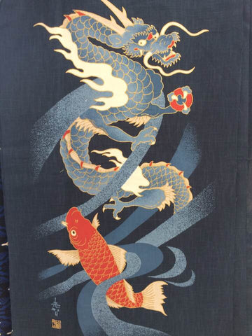 Noren Panel - Dragon and Fish (Indigo) | Broadcloth