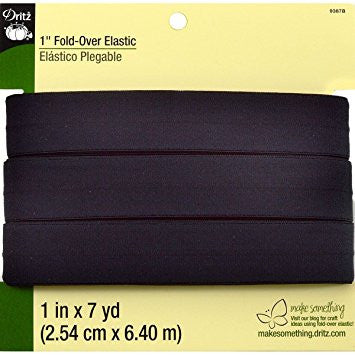 "1"" Fold-Over Elastic - (Black) 