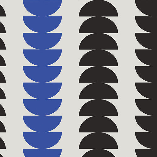 Flipped Semicircles- (Black and Blue) | Broadcloth
