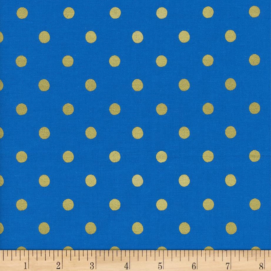 Wonderland - Caterpillar Dots (Cobalt Metallic) | Broadcloth