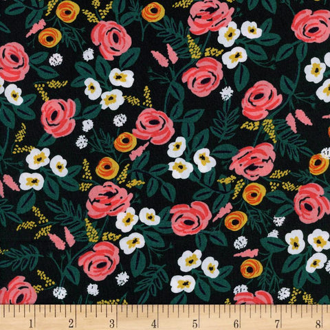 Wonderland - Paint Roses (Black) | Rayon