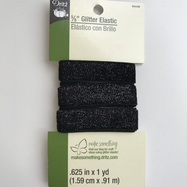 "5/8"" Glitter Elastic - (Black) 