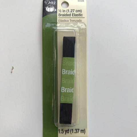"1/2"" Braided Elastic (Black) - 