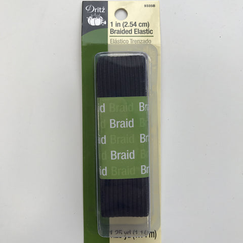 "1"" Braided Elastic - (Black) -  