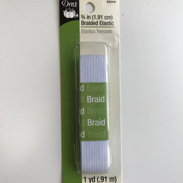 "3/4"" Braided Elastic - (White) 