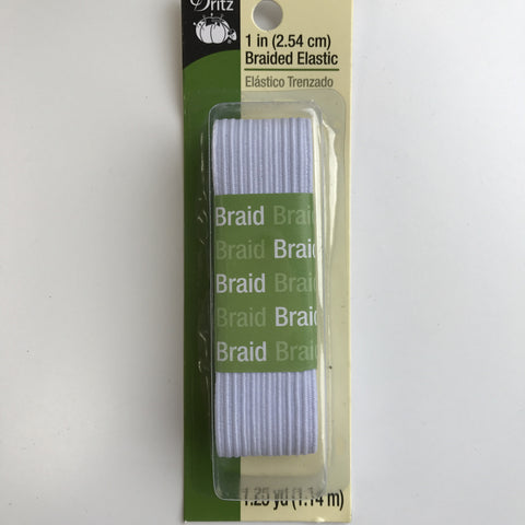 "1"" Braided Elastic - (White) - 
