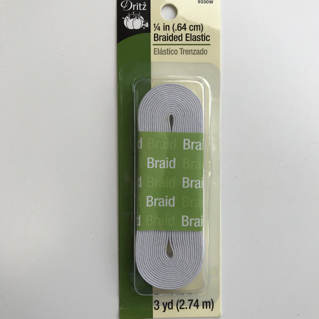 "1/4"" Braided Elastic (White) - 