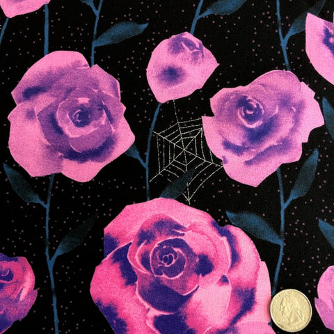 Eclipse - Roses  (Black + Metallic Detail ) | Broadcloth