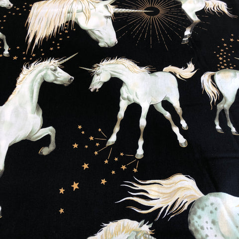 Nicole's Prints - Stars of The Unicorn  (Black) | Broadcloth
