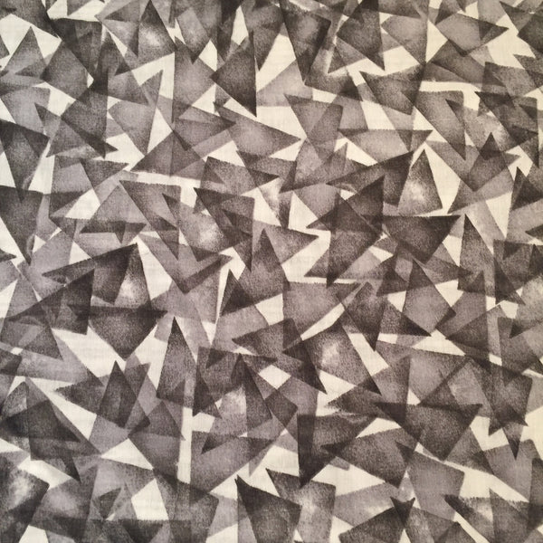 Kokka - Lyocell Triangles (Grey) | Cotton Double Gauze