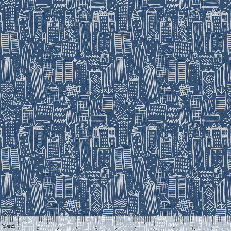 Monsters vs Robots - Metropolis (Navy) | Broadcloth