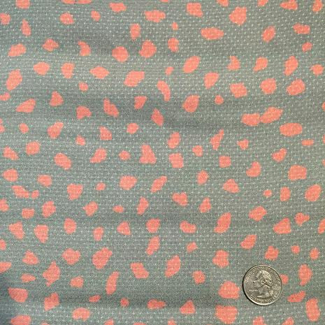 Coral Pebbles (Coral on Gray) | Rayon